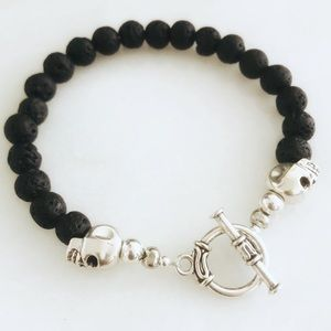 Handcrafted Men's Skull Lava Rock Toggle Bracelet